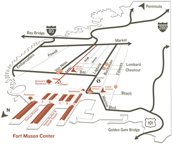 Map to Fort Mason Center